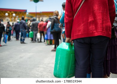 La Paz, Bolivia - Nov 19th 2019: Thousands car owners formed long lines all over La Paz after it was announced that a combined Police/ Army force would escort trucks with gasoline to La Paz.