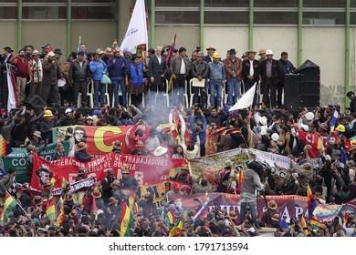 La Paz, Bolivia - Nov 5th 2019: MAS supporters participate in a rally with president Evo Morales.