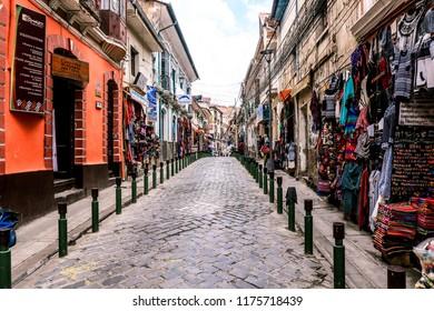 La Paz, Bolivia - November 25, 2017: Empty Main Shopping Street with the Traditional Goods