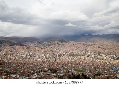 La Paz, Bolivia - October 24, 2015: Aerial View of the city on a cloudy day.