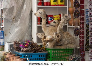 La Paz, Bolivia - October 24, 2015: Dried baby llama foetuses at the Witches Market.