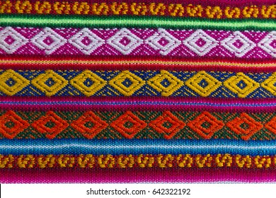 LA PAZ, BOLIVIA-JUNE 2: Detail of textile at street market on June 2, 2015 in La Paz, Bolivia. These colorful blankets are typical of Ecuador, Peru, Bolivia, and northern Chile and Argentina