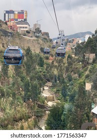 La Paz Bolivia-may 2019: La Paz's Transport Cable Car System Mi Teleferico