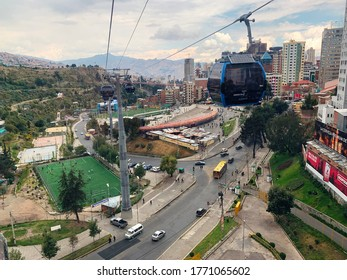 la Paz Bolivia-may 2019:Mi Teleférico-My Cable Car La Paz–El Alto Cable Car is an aerial cable car urban transit system serving the La Paz–El Alto metropolitan area in Bolivia. Scenic aerial cityscape