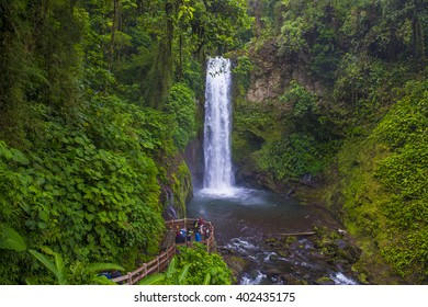 LA PAZ , COSTA RICA - MARCH 22 : Waterfall at a tropical rainforest in La Paz Waterfall Gardens Costa Rica on March 22 2016. La Paz Waterfall is the Most Visited Ecological Attraction in Costa Rica