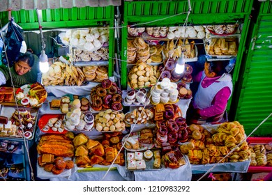 La Paz/Bolivia - May 20, 2017: Female food vendors in La Paz, Bolivia.