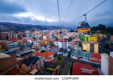 La Paz/Bolivia - May 20, 2017: Cable car, one of the public transportations in La Paz, Bolivia.