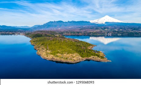 """""""La peninsula"""" in Pucón, Chile. Villarrica volcano and lake in the background. Summer time."""
