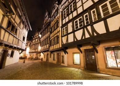 La Petite France district at night, Strasbourg, Alsace, France