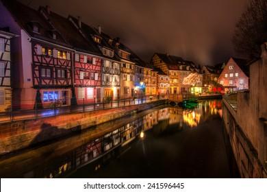 La Petite Venise (Little Venice) in Colmar, Alsace, France on a cold December night.