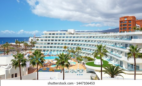 La Pinta Beachfront Family Hotel, Tenerife, Canary Islands, Spain - April 5, 2019: grand beachfront luxury resort with family facilities, based in Costa Adeje and privately owned by Hovima Company