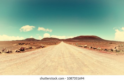 "la plaine des sables  : on the road leading to the""piton de la fournaise"" volcano on reunion island, indian ocean."