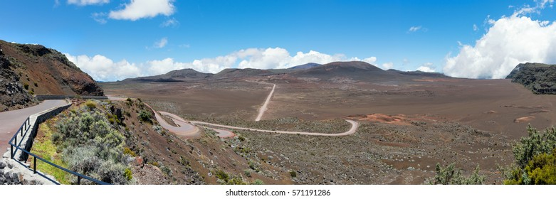 "la plaine des sables  : on the road leading to the""piton de la fournaise"" volcano on réunion island, indian ocean.Panoramic view."