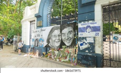 "La Plata, Buenos Aires Province, Argentina;11 25 2020: Day of the death of Diego Maradona, ""Gimnasia de La Plata"" , football field.  Tribute"