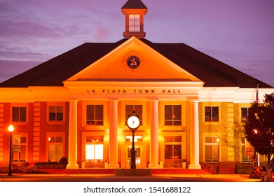 LA PLATA, MARYLAND / USA - CIRCA OCTOBER 2019 - La Plata Town Hall Building, 305 Queen Anne Street, Charles County, illuminated at dawn