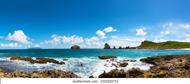 La Pointe des Chateaux (Castles headland) is a peninsula that extends into the Atlantic Ocean from the Eastern coast of the island of Grande-Terre, in Guadeloupe, french West Indies.panoramic view