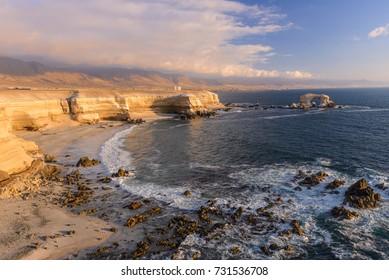 'La Portada' Natural Monument at sunset, Antofagasta, Chile