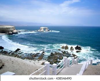 La Portada with steps leading to beach