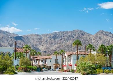 La Quinta Downtown California Coachella Valley. Old Town La Quinta with Mountain View, United States. La Quinta, Riverside County.