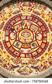 LA RABIDA, HUELVA, ANDALUCIA, SPAIN - OCTOBER 08, 2017: Aztec calendar along the Paseo de los Escudos at the monastery of La Rabida