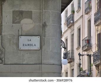 La Rambla in Barcelona, street sign on building