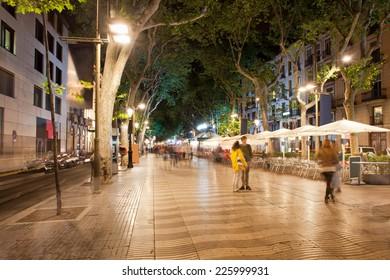 La Rambla boulevard at night  in Barcelona, Catalonia, Spain