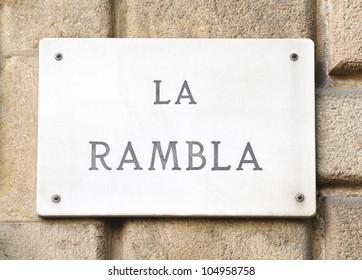 La Rambla street sign in Barcelona, Spain.