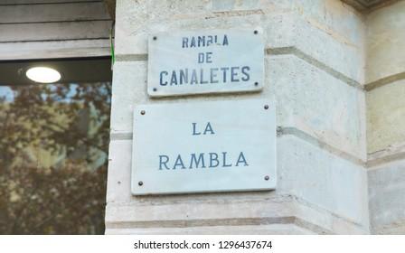 La Rambla street sign in Barcelona, Spain