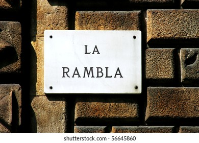 La Rambla- street sign depicting one of the first landmark in Barcelona (Spain).