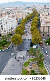 La Rambla street top view, Barcelona, Spain