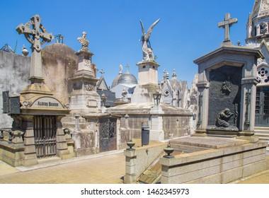 La Recoleta Cemetery. Buenos Aires, Argentina - January 28 2019. La Recoleta Cemetery (Spanish: Cementerio de la Recoleta) is a cemetery located in the Recoleta
