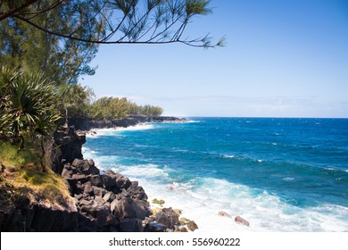 La reunion Island in Indian ocean Tropical coastline with the ocean and waves on the shore