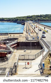 La Richardais, France - June 23, 2018: General view of the Rance tidal power station in Brittany, the world's first tidal hydropower plant opened in 1966 and operated by Electricite de France.