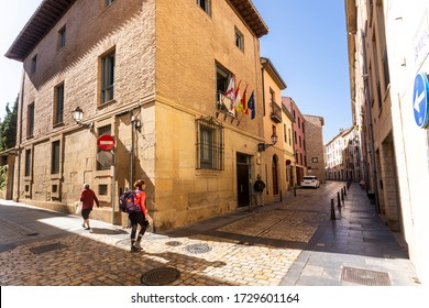 LOGROÑO / La Rioja / Spain - 10/10/2019: Pilgrims through the streets arrive in the city of Logroño, a stretch of the Camino de Santiago, in Spain.