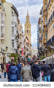 Logroño, La Rioja, Spain. April 22, 2018: Central street in the old part of the city called Portales completely full of people walking