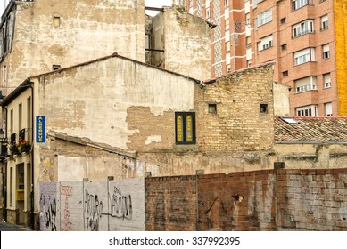LA RIOJA, SPAIN - SEPTEMBER 5: Buildings in the city of Logroño. In this photo it can see an urban disaster because of the spanish crisis.. September 5, 2015 in La Rioja, Spain