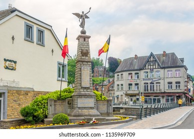 LA ROCHE EN ARDENNE,BELGIUM - MAY 16,2018 - World War Monument in La Roche en Ardenne. La Roche-en-Ardenne is one of the most popular tourist destinations in the Ardennes.