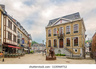 LA ROCHE EN ARDENNE,BELGIUM - MAY 16,2018 - View at the City hall of La Roche en Ardenne. La Roche-en-Ardenne is one of the most popular tourist destinations in the Ardennes.