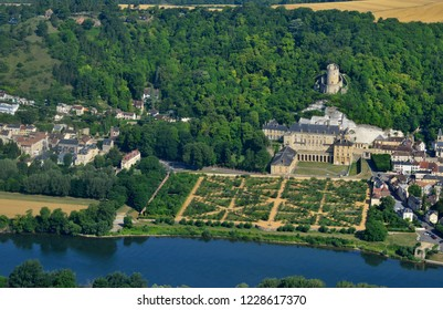 La Roche Guyon, France - july 7 2017 : aerial photography of the castle near the Seine river
