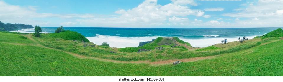 La Roche Qui Pleure landscape aerial view, Mauritius.