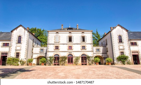 La Roche Sur Yon, view of the national stud farm in the center town of La Roche Sur Yon. Blue sky during summer. France