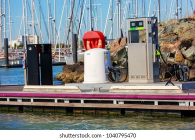 La rochelle, France - August 22, 2016 : Oil and petrol station for boats with no boats and blue sky in the Minimes Harbor at La Rochelle, France,