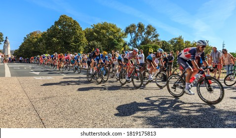 La Rochelle, France - September 08, 2020: The peloton riding in La Rochelle during the stage 10 of Le Tour de France 2020.