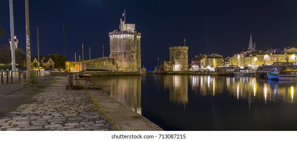 La Rochelle port at night, France, Europe