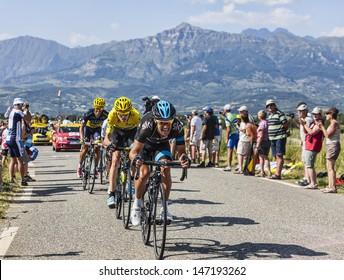LA ROCHETTE, FRANCE- JUL 16:Richie Porte , Christopher Froome and Alberto Contador  riding near Col de Manse during the stage 16 of 100 edition of Le Tour de France on July 16 2013 in La Rochette