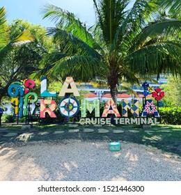 La Romana / Dominican Republic - April 9, 2019:  Sign welcoming you to La Romana as you enter the cruise port terminal