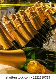 La Romana, Dominican Republic - champagne bottles ready for a beach party  in a typical tropical island of the caribbean