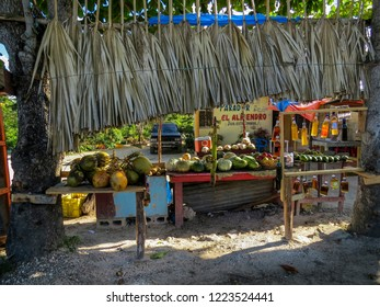 La Romana, Dominican Republic - December 28, 2014:  shops of a small village  of a typical tropical island of the caribbean