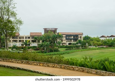 LA ROMANA, DOMINICAN REPUBLIC - JUNE 11, 2021: World famous Dye Fore Golf Course of Casa de Campo. Oceanside golf course with 27 holes, including cliff side holes dropping to the Chavon River below