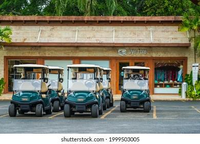 LA ROMANA, DOMINICAN REPUBLIC - JUNE 11, 2021: Golf pro shop at the world famous Dye Fore Golf Course of Casa de Campo. Oceanside golf course designed by Pete Dye, an American golf course designer